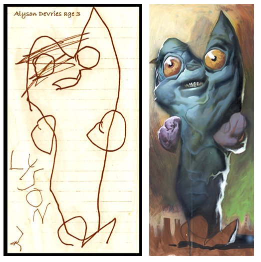 A picture of one of the hand-drawn monsters.